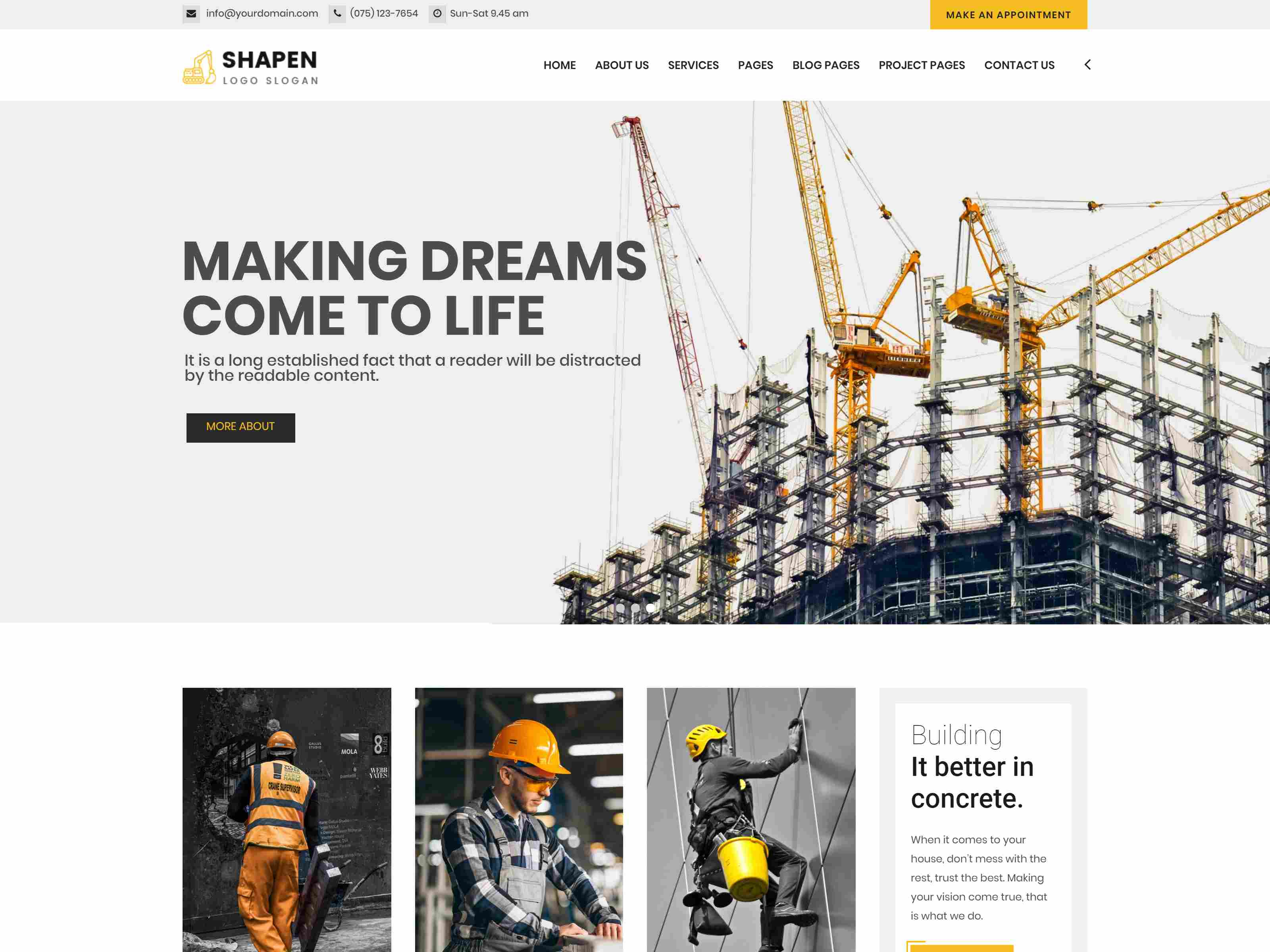 Shapen - Construction Drupal 8.8 Theme