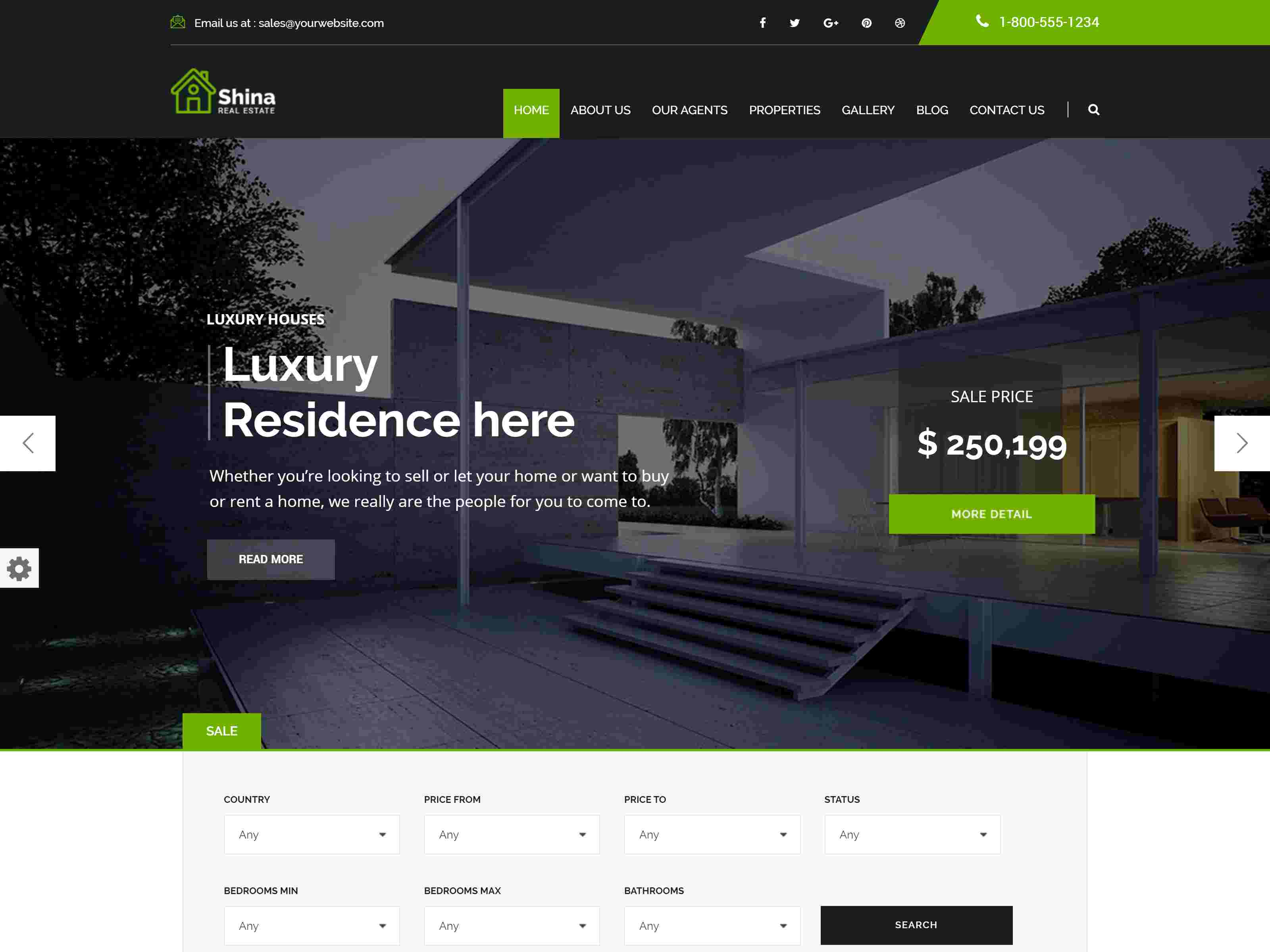 Shina - Real State Property WordPress Theme real estate wordpress themes