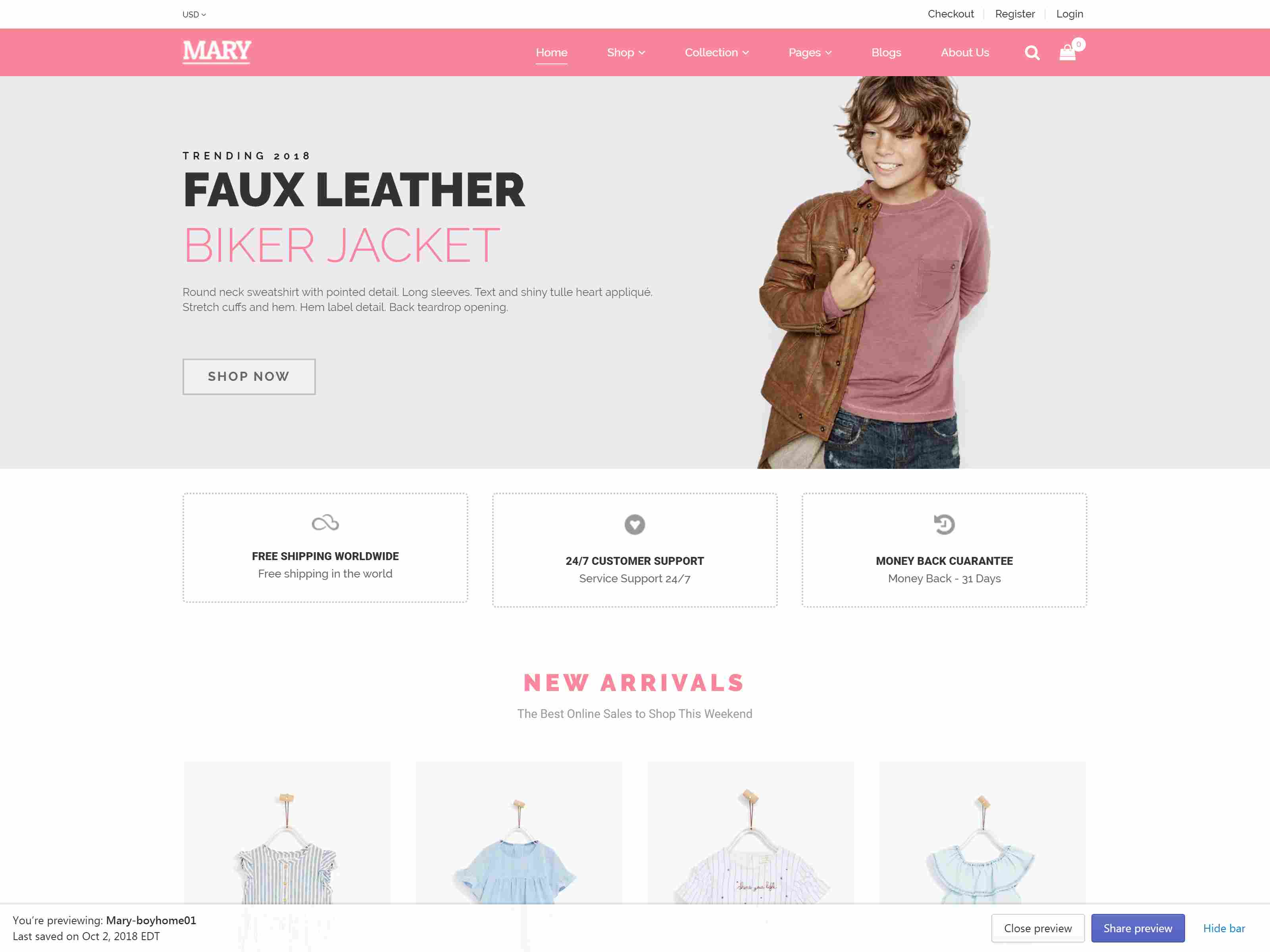 Shopify - Mary Clean, Minimal , Drag & Drop