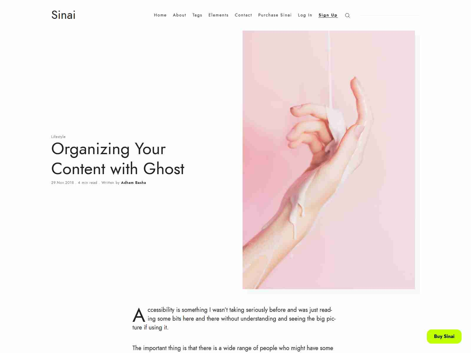 Sinai - Minimal Blog and Magazine Ghost 3.0 Theme