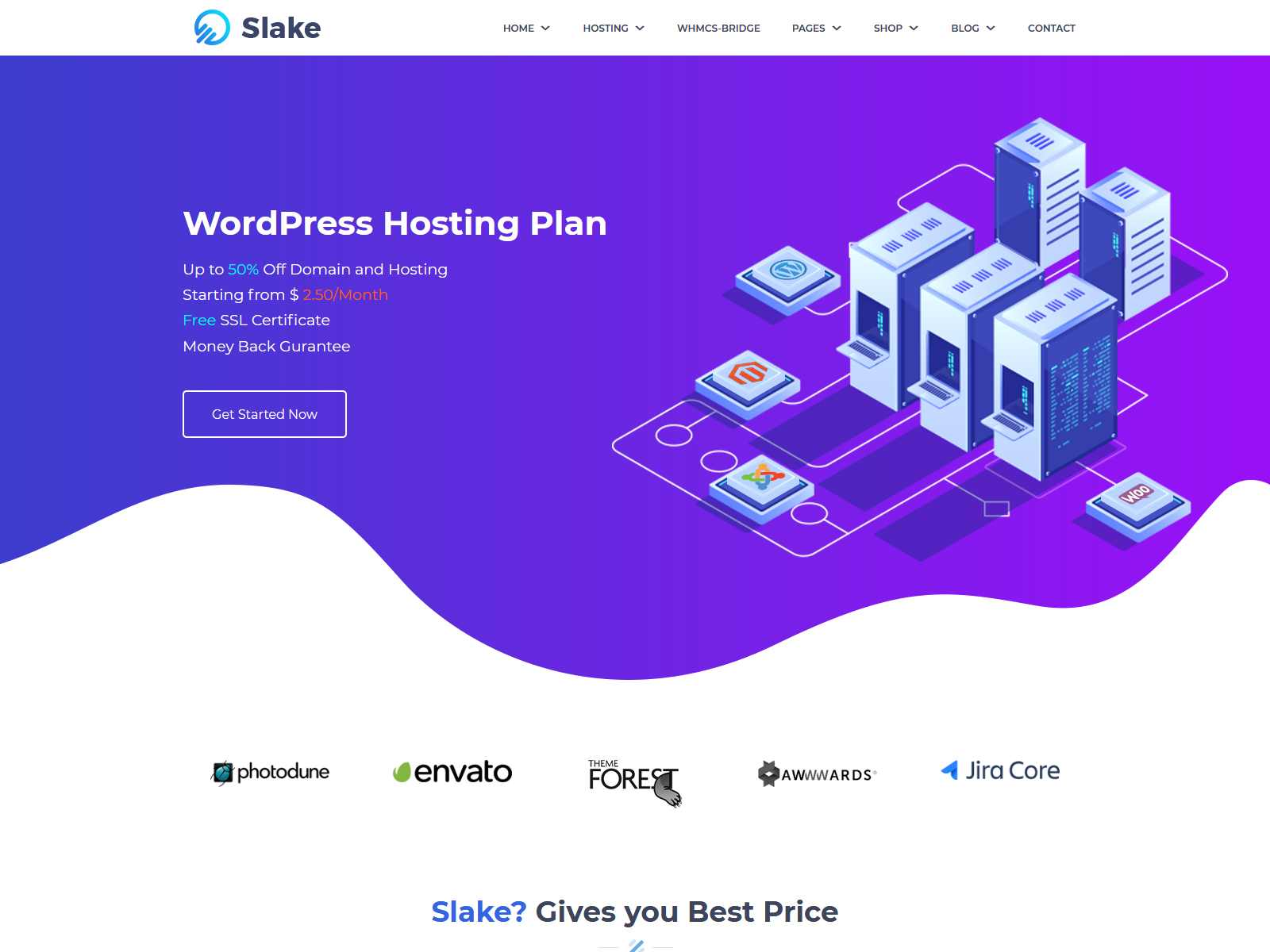Slake - Isometric Web Hosting, Domain and WHMCS WordPress Theme