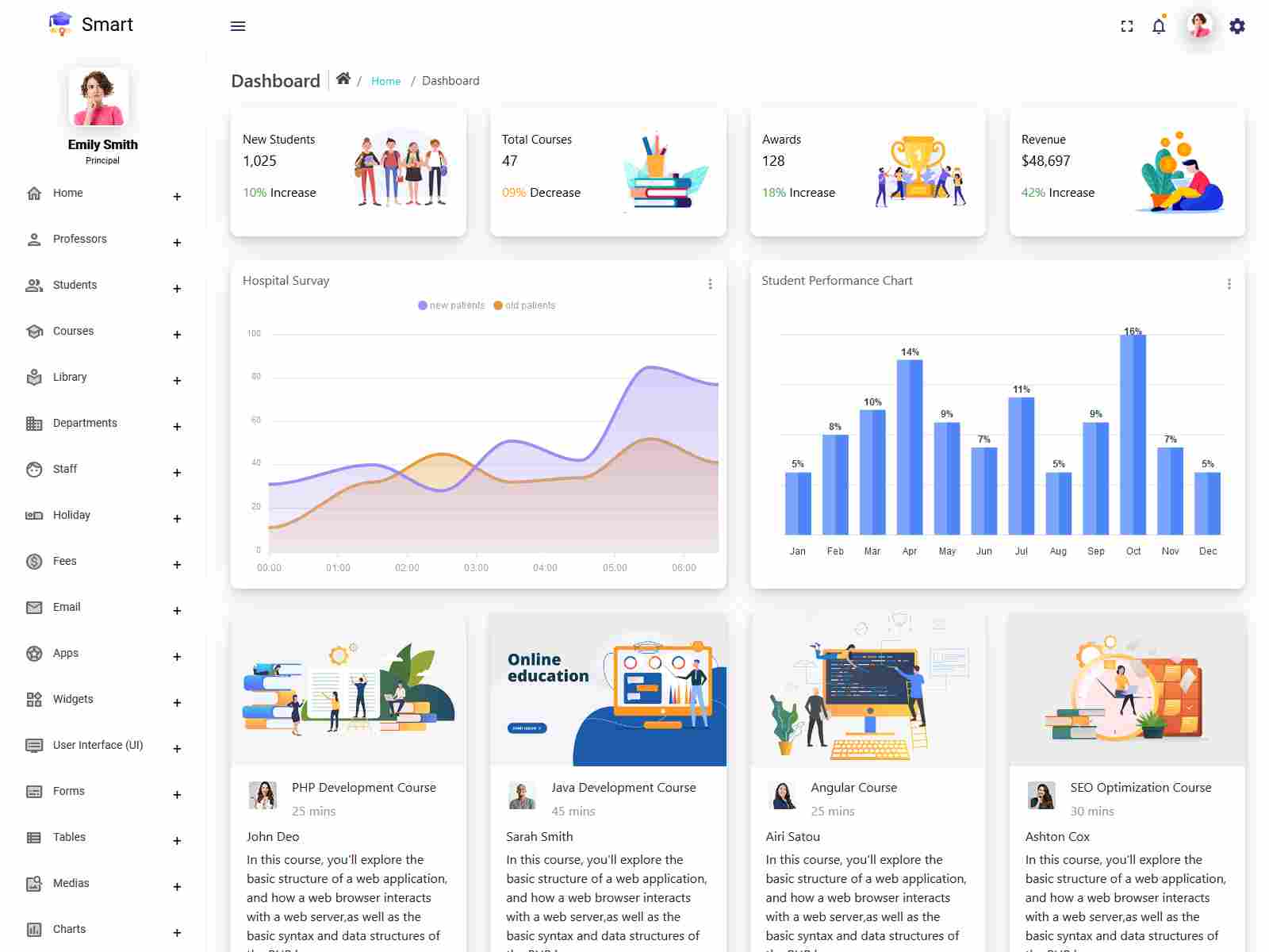 Smart - Angular 9+ Admin Dashboard Template for University, School & Colleges