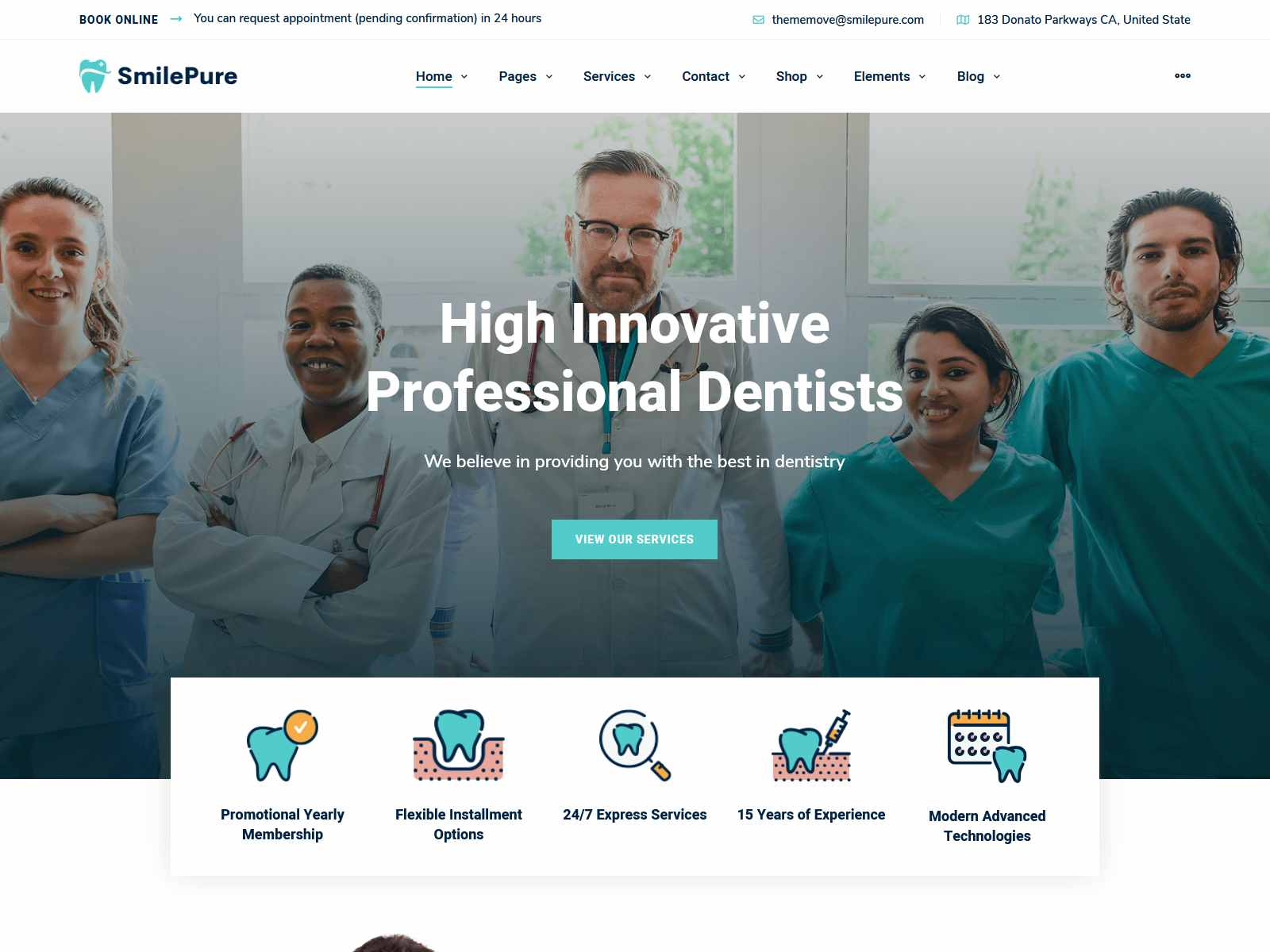 SmilePure - Dental & Medical Care WordPress Theme