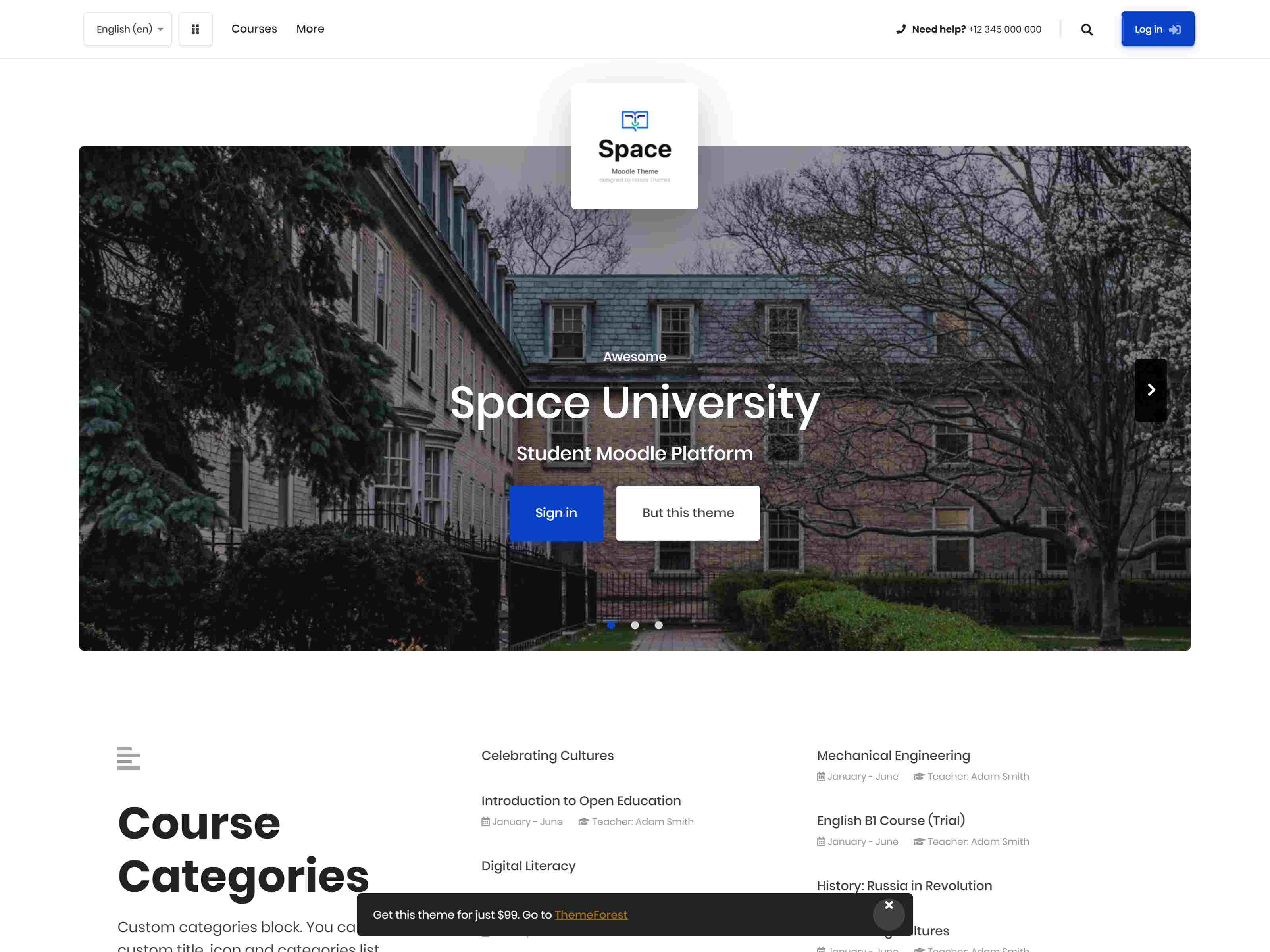 Space v1.9.8 | Responsive Premium LMS Moodle 3.5, 3.6, 3.7, 3.8 + Theme, based on Bootstrap 4