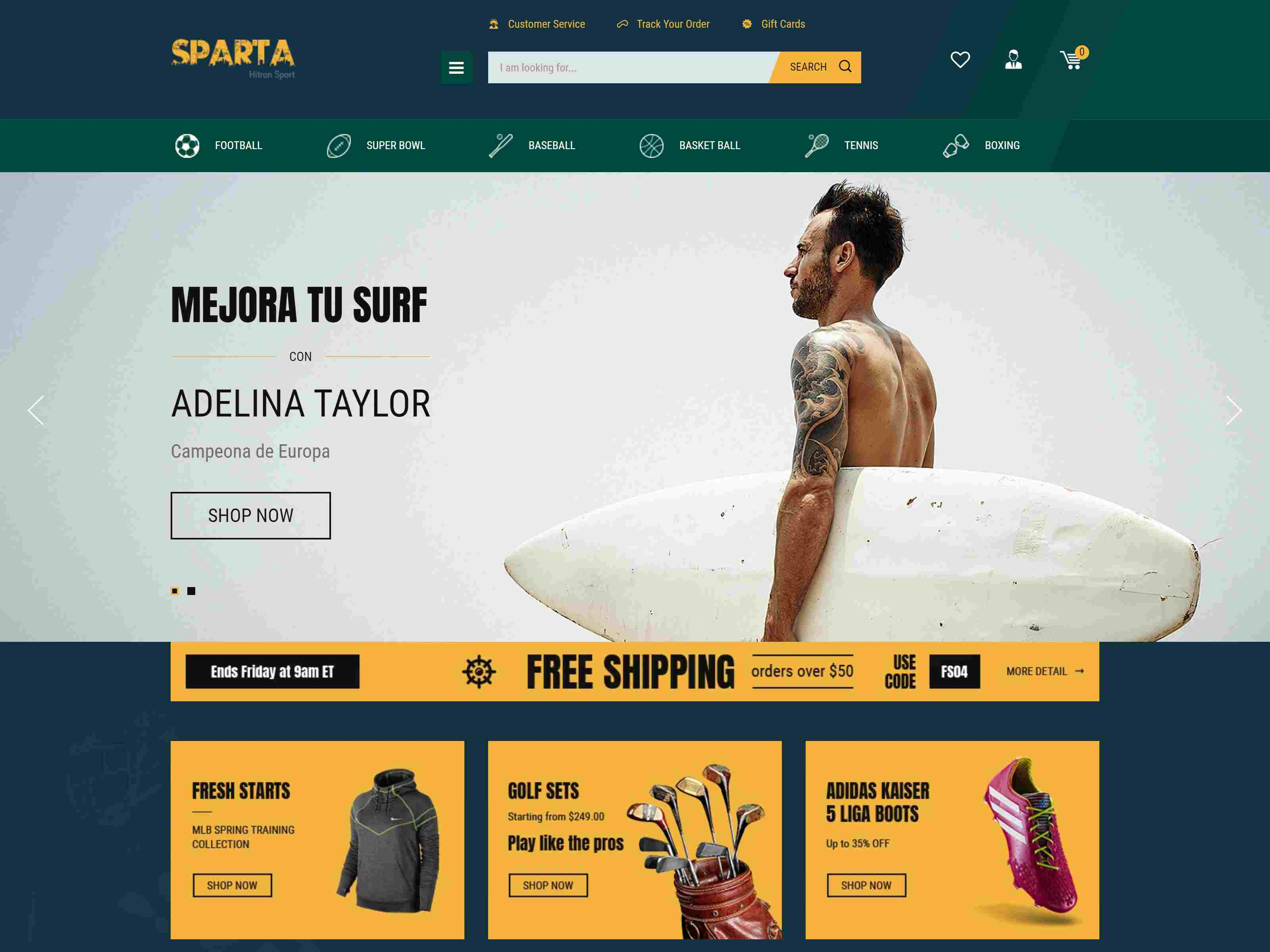 Sparta - Sport Shop Shopify Theme