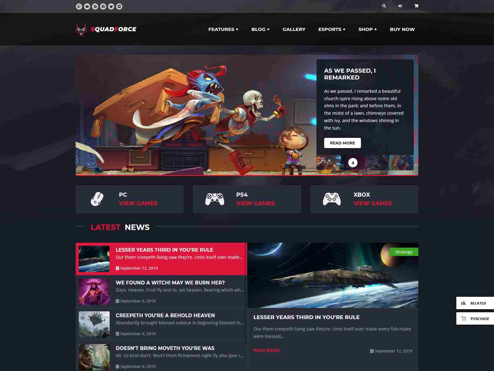 SquadForce - eSports Gaming WordPress Theme (formerly Good Games)