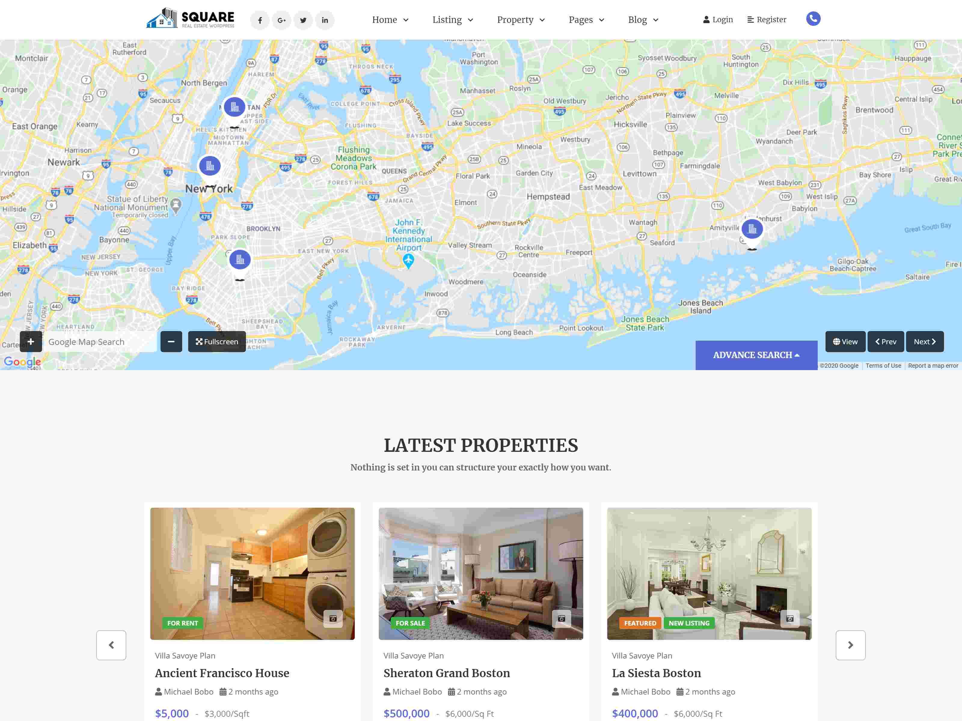 Square - Real Estate WordPress Theme real estate wordpress themes
