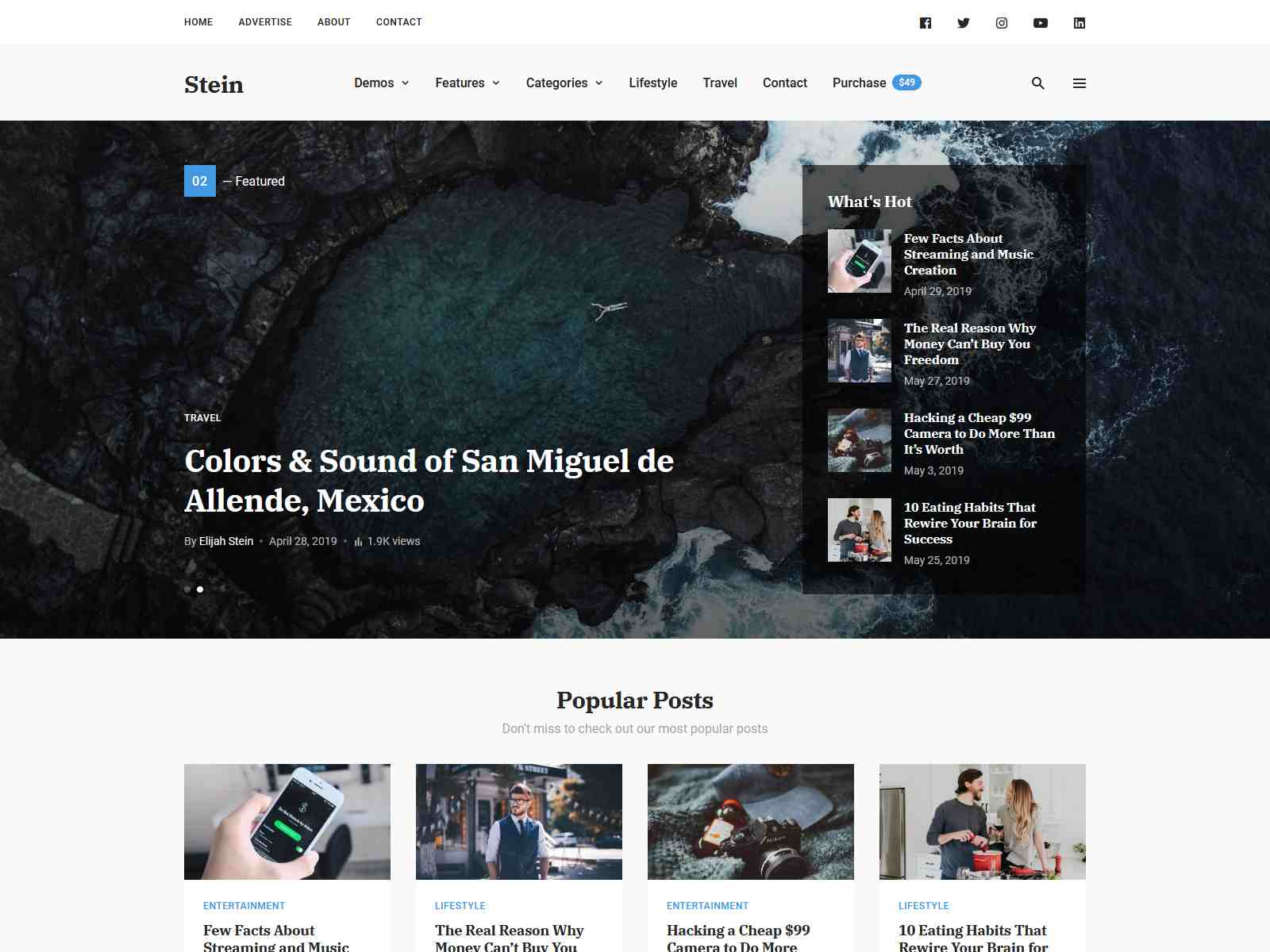Stein ~ TailwindCSS WordPress Theme for Bloggers