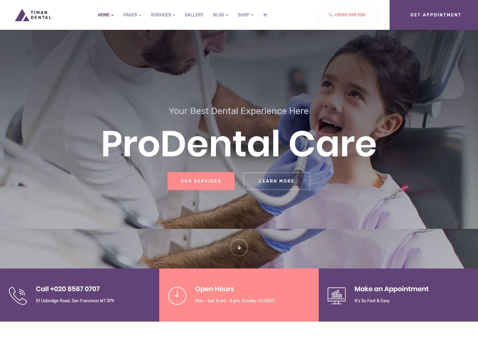 Timan - Dental Clinic & Medical WordPress Theme