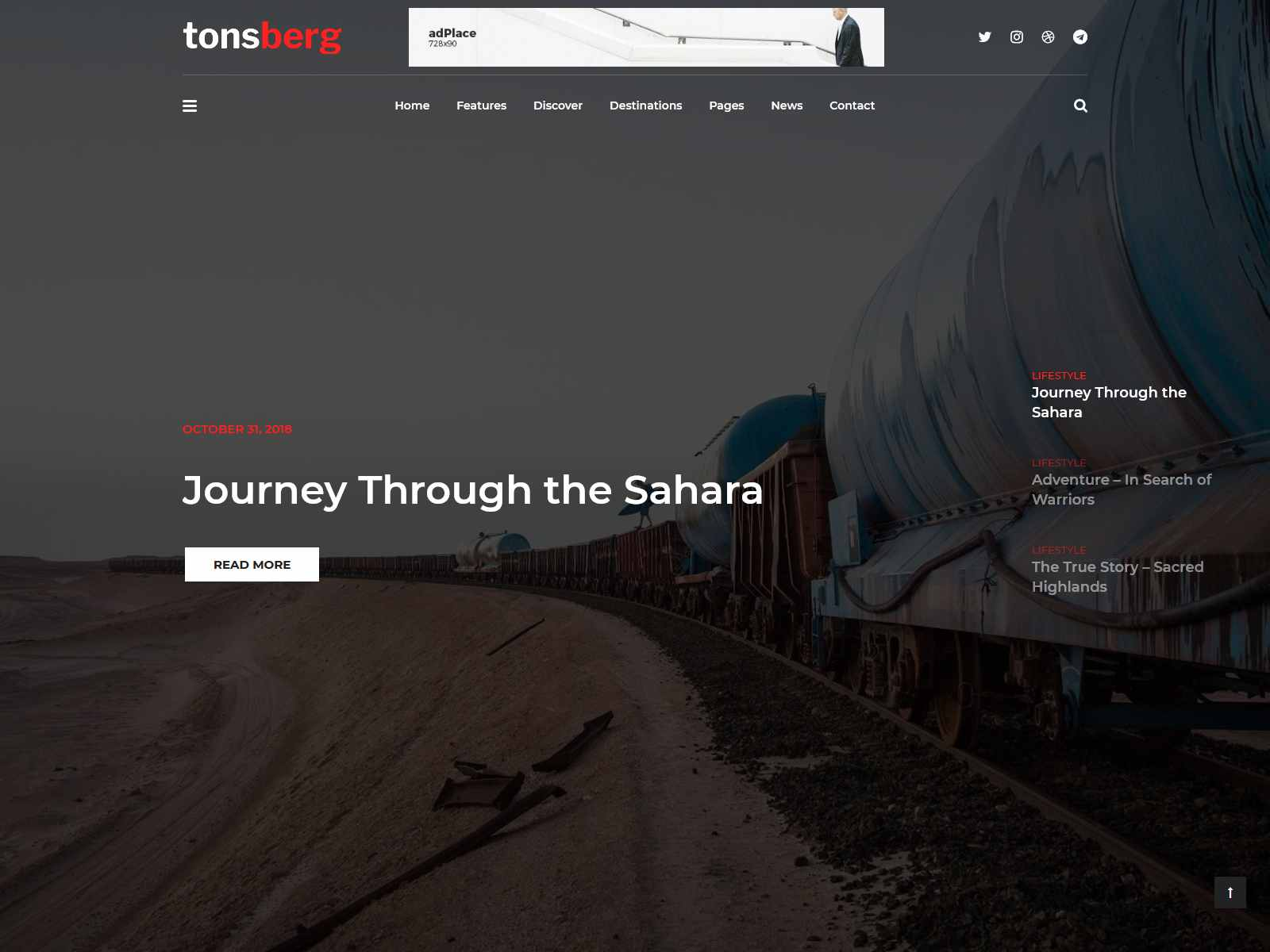 Tonsberg - A Modern WordPress Theme for Travel Bloggers wordpress news themes
