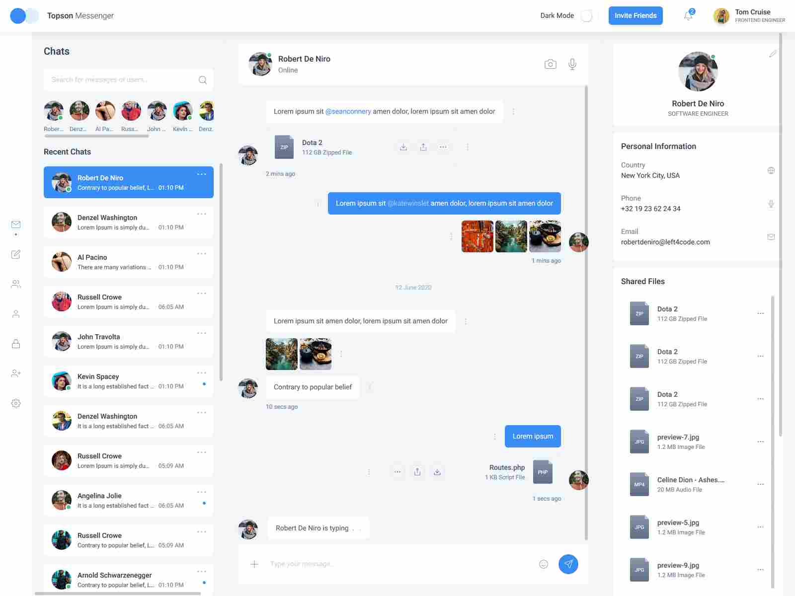 Topson - Chat Messenger App HTML Template