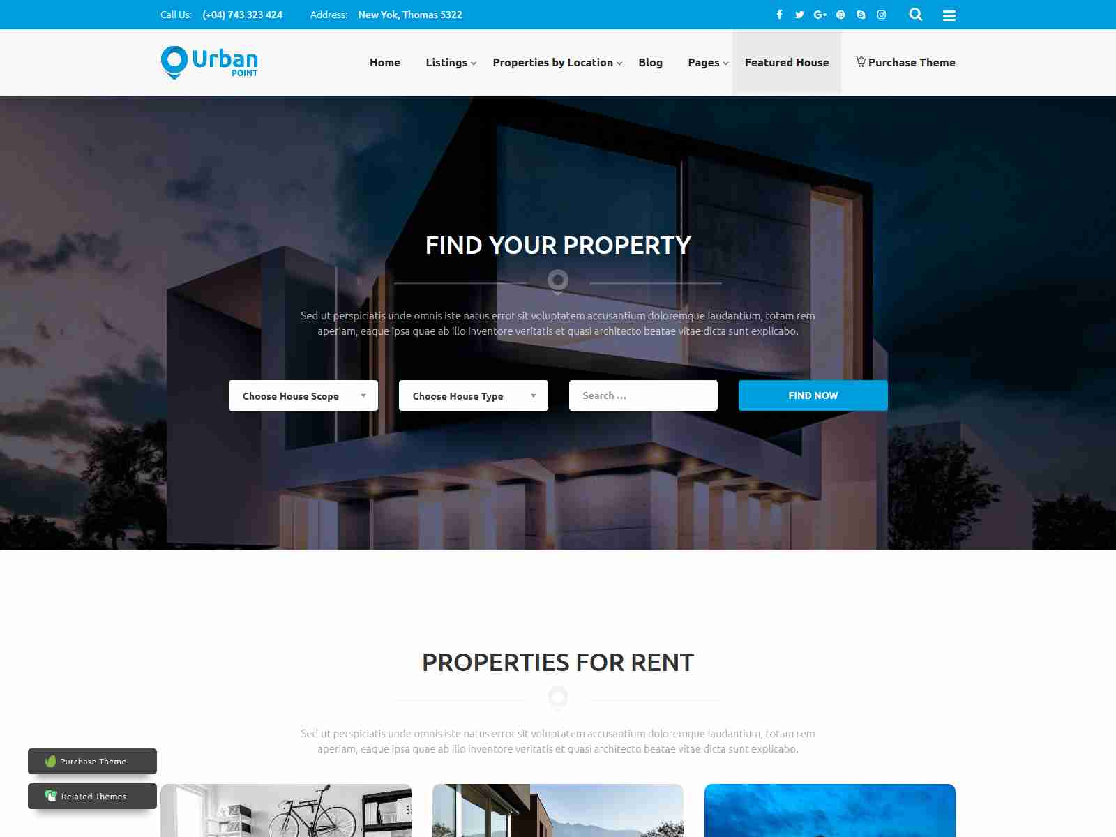 UrbanPoint - House Selling & Rental WordPress Theme real estate wordpress themes