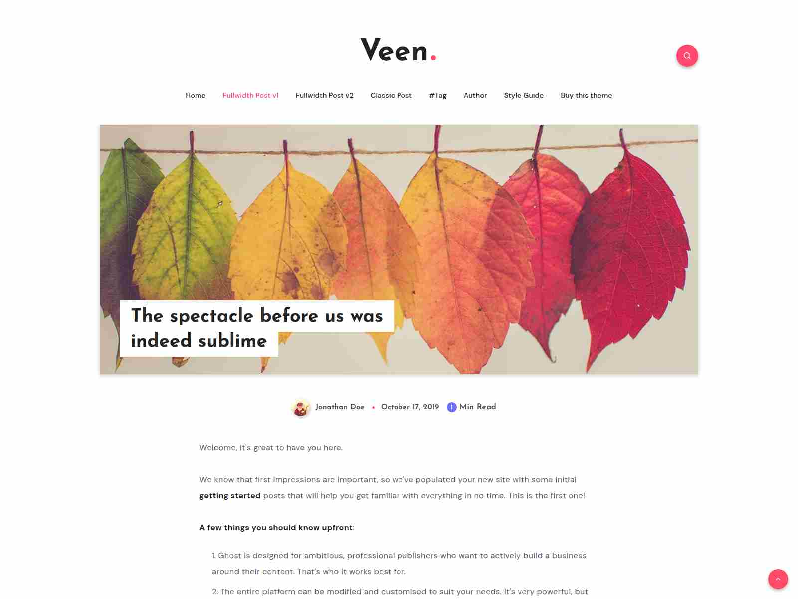 Veen - Minimal blog for Ghost