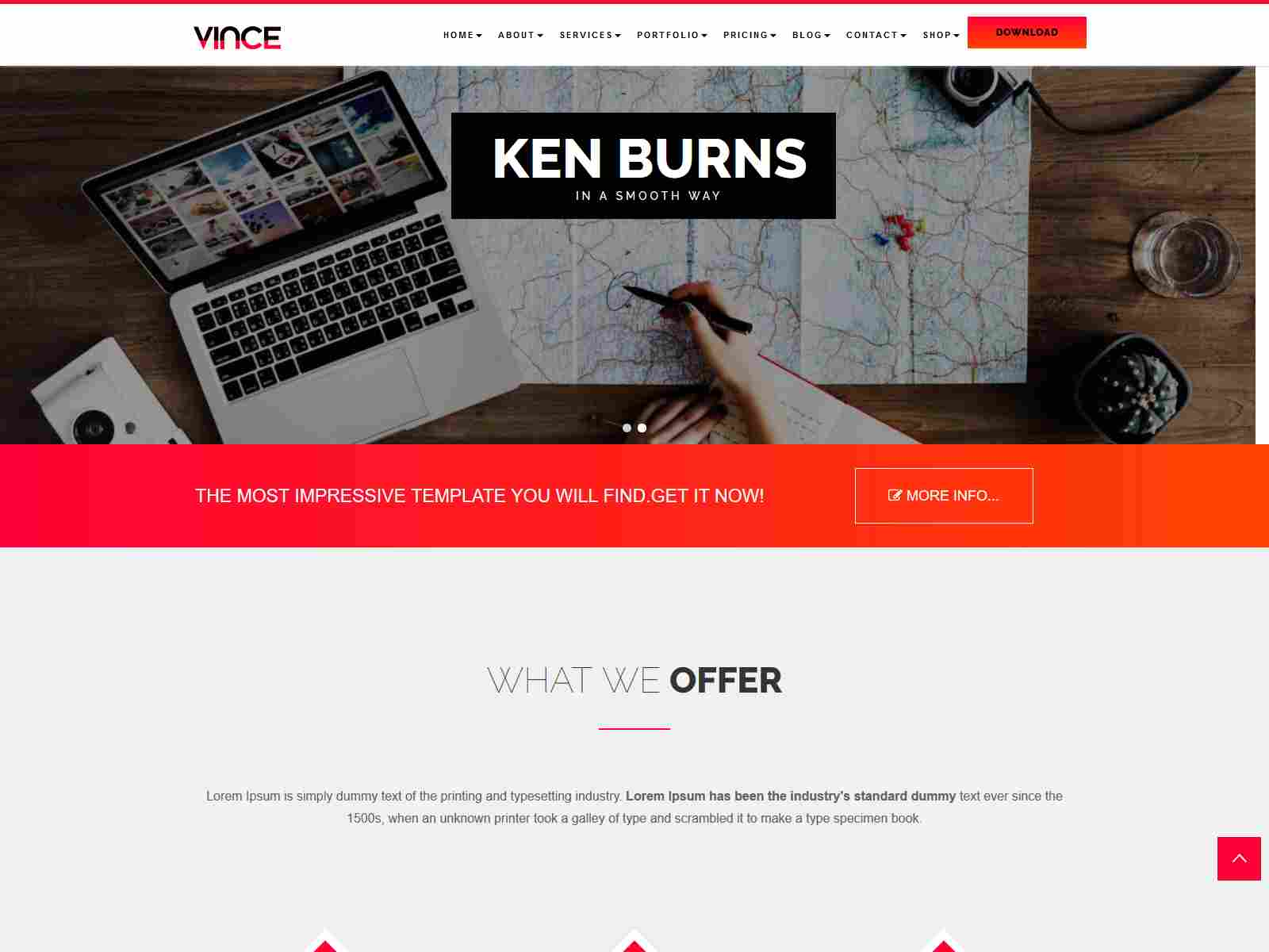 Vince Onepage & Multipages Business Drupal 8.8 Theme