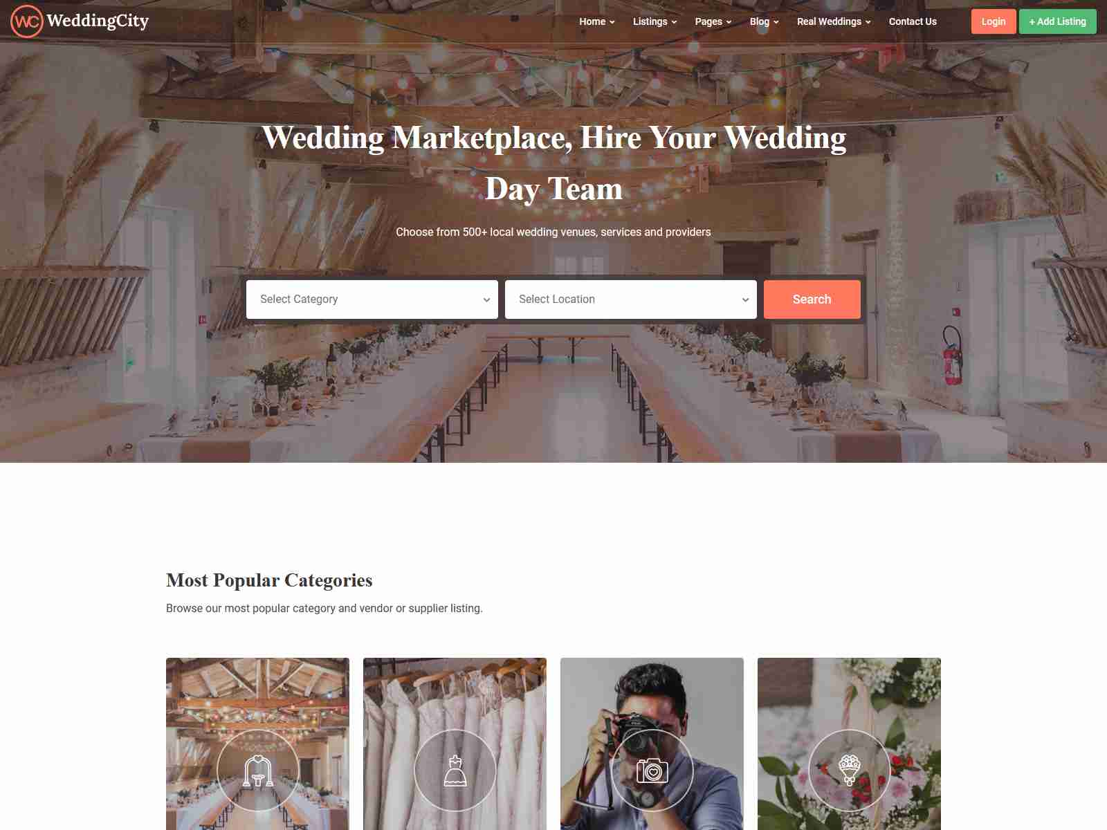 WeddingCity - Directory & Listing WordPress Theme