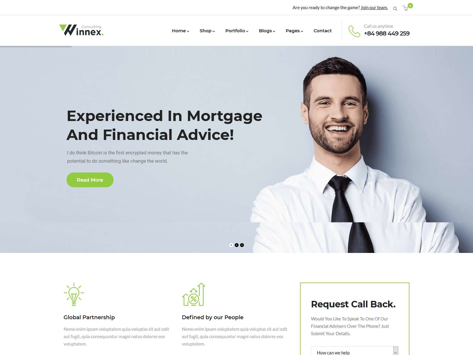 Winnex - Business Consulting WordPress Themes Insurance Company WordPress Themes