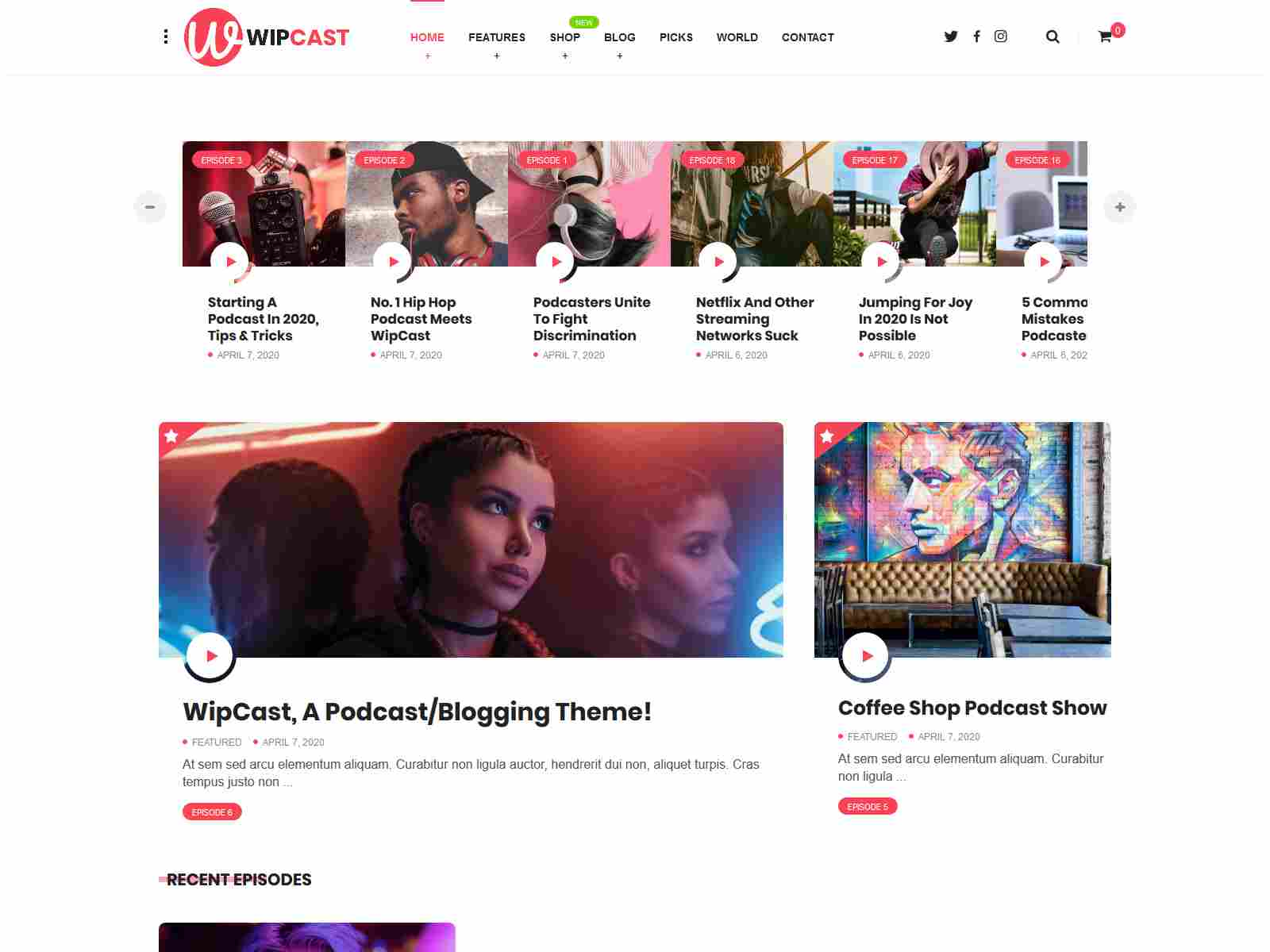 WipCast - A Podcast / Blogging WordPress Theme