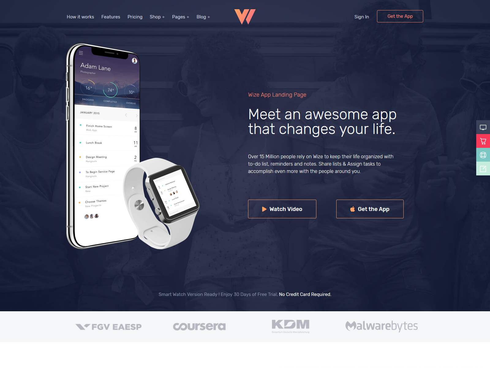 WizeApp - One Page App Landing software themes, mobile app wordpress themes