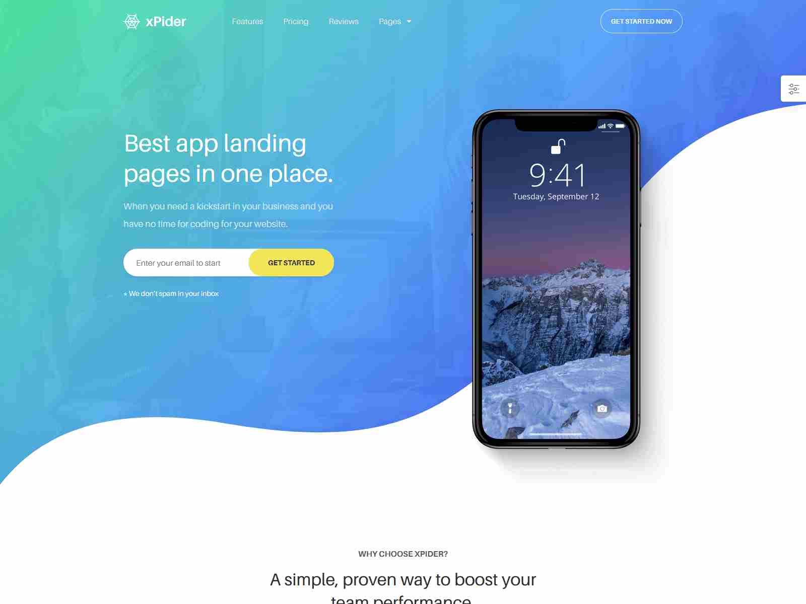 xPider | WordPress App Landing Page software themes, mobile app wordpress themes