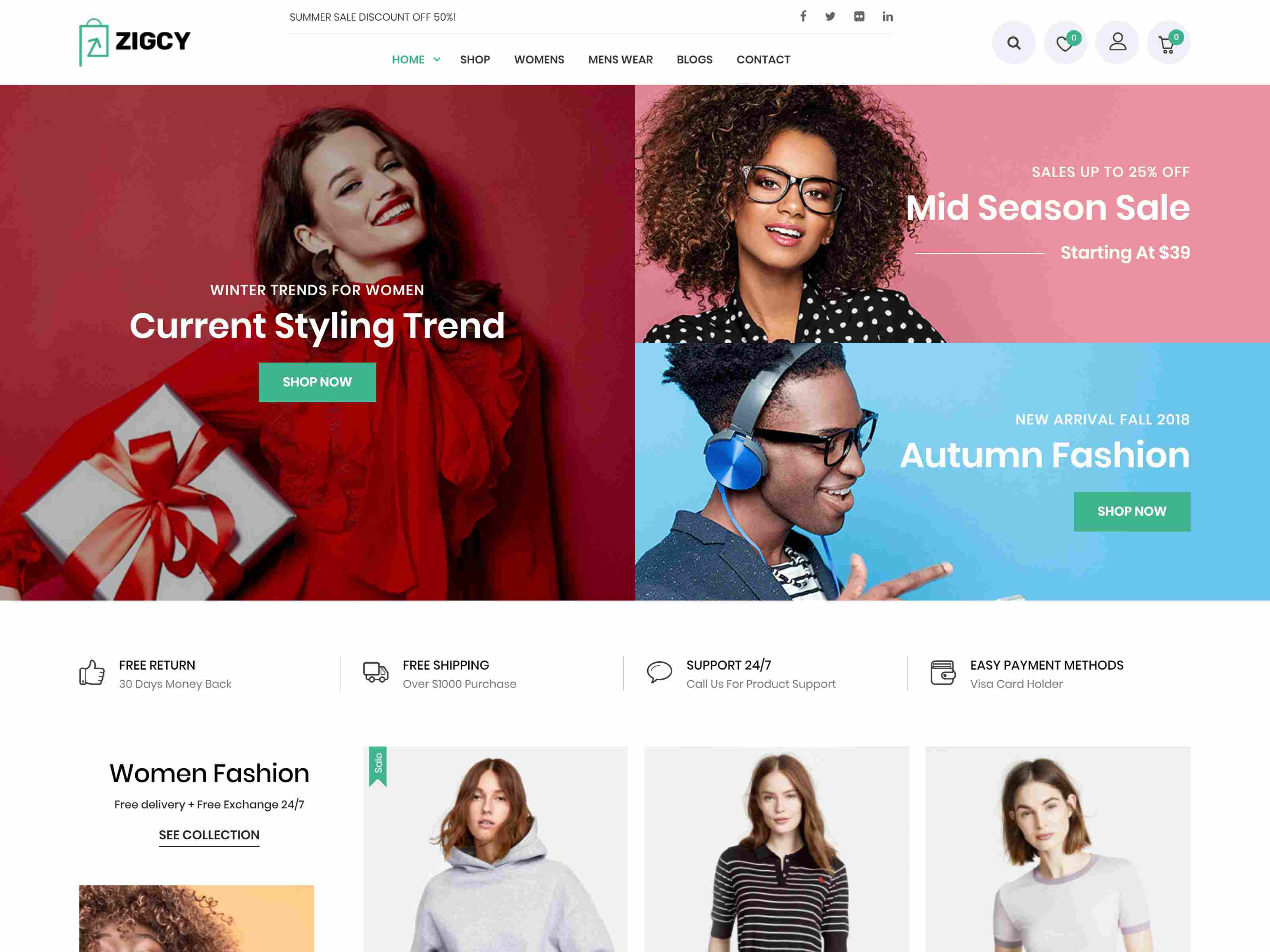 Zigcy - Modern, MultiConcept WooCommerce Theme fashion wordpress themes