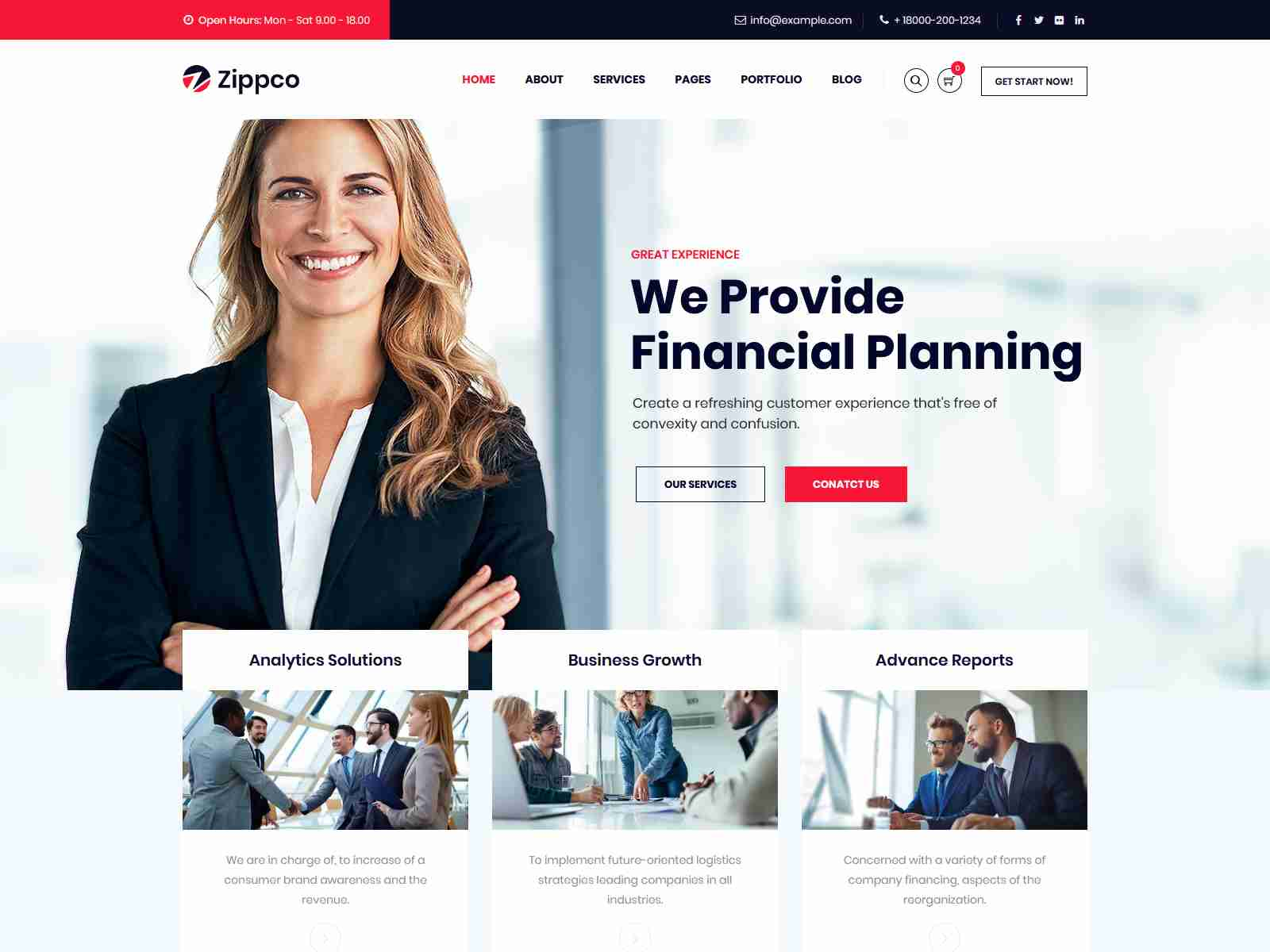 Zippco - Business and Finance Consulting WordPress Theme Insurance Company WordPress Themes